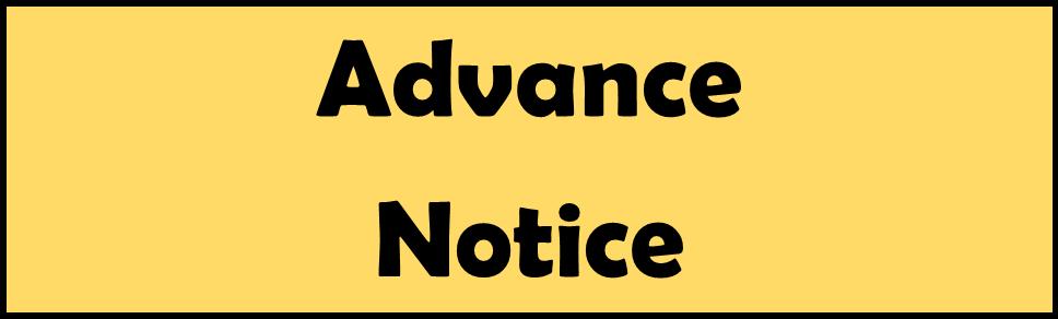 Advance Notice - Teacher Only Day